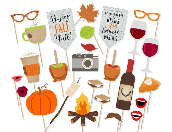 Printable Happy Fall Y'all Photo Booth Props by PrintablePropShop