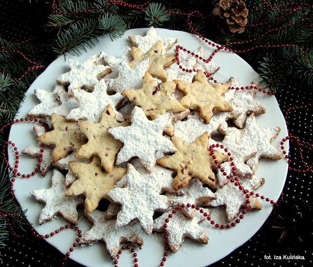 Smaczna Pyza: Ciasteczka z białą czekoladą i żurawiną - śnieżynki