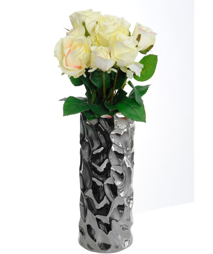 Buy Dimple Silver Vase with Vintage Cream Rose at Argos.co.uk - Your Online Shop for Artificial trees and flowers. #ArgosRoomInspiration