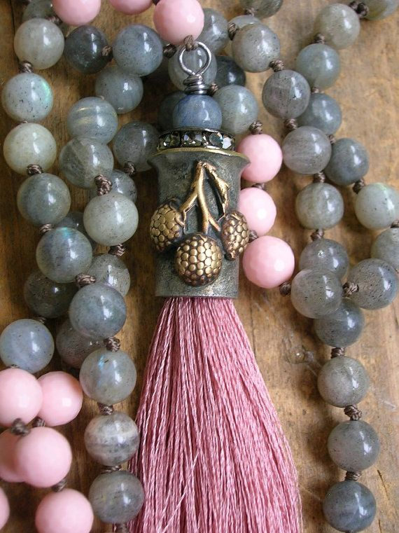 Pink tassel necklace, long knotted necklace - Berry Harvest - boho jewelry fall berries labradorite gemstones soldered jewelry cottage chic on Etsy, $138.00