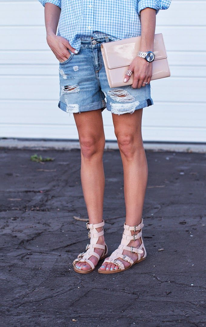 Boyfriend Shorts + Gladiator Sandals