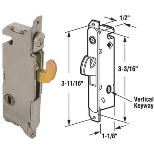 Prime Line Prod. Slidng Door Mortise Lock 15410 Unit: Each, Silver steel