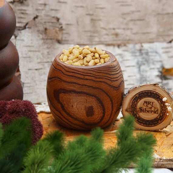Deep Textured Wooden Vase from natural Siberian Elm wood for