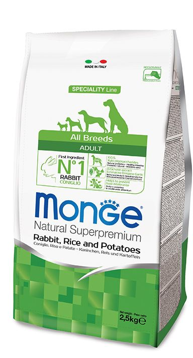 ALL BREEDS ADULT RABBIT, RICE AND POTATOES Kibbles Monge Natural Superpremium Speciality Line Adult with Rabbit, Rice and Potatoes are a complete food for all breeds adult dogs that require highly digestible foods which prevent food intolerance.