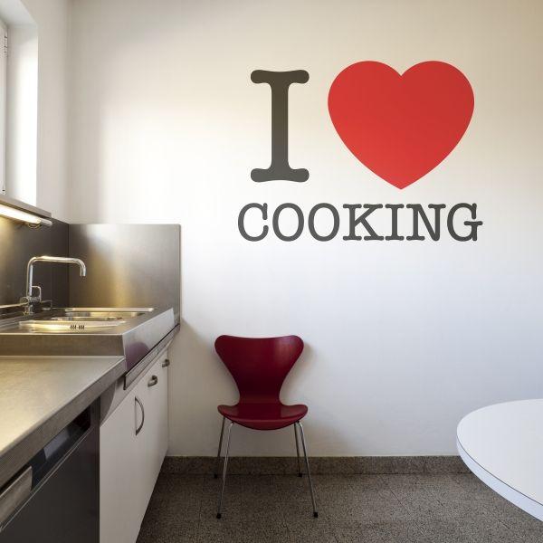 "Vinilo decorativo con frase ""I love cooking"". ideal para cocinas. Masquevinilo.com"
