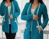 Knit pattern, patron tricot TANYA knit cardigan, knit vest sweater, women knit t…