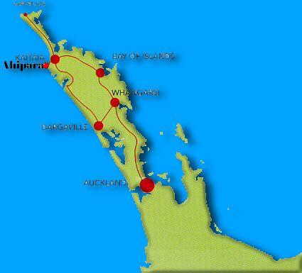 North Island of Aoteaora New Zealand. Ahipara is near the top of the island.