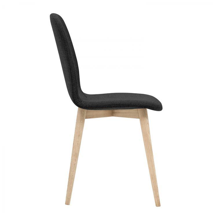 Gestoffeerde stoelen Helvig I (2-delige set) - geweven stof/massief eikenhout - Stof Vesta Antraciet