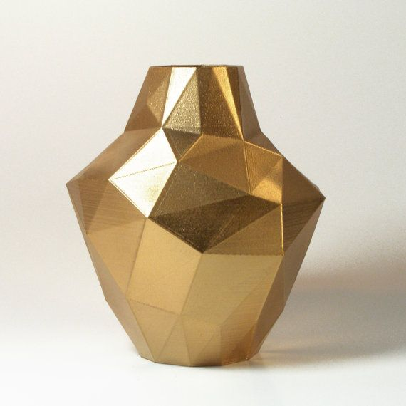 REDUX GOLDEN polygon modern vase MED low poly face by MeshCloud