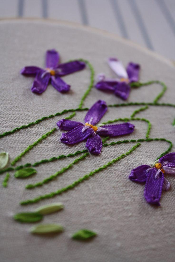 silk ribbon embroidery violets - Google Search
