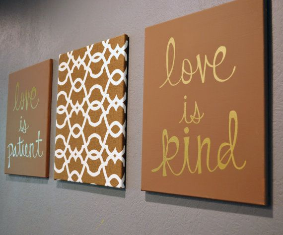 Love is Patient, Love is Kind Canvas 3 Pack Wall Hanging Wall Art Brown Neutral Home Decor Scripture Canvas Wall Art Living Room Wall Decor on Etsy, $90.00