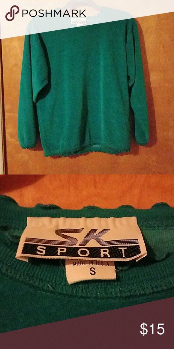 SK Sport teal velvet long sleeve shirt size S Size small, teal, velvety, by SK Sport. Sleeves kinda tight, especially around wrist. SK Sport Tops