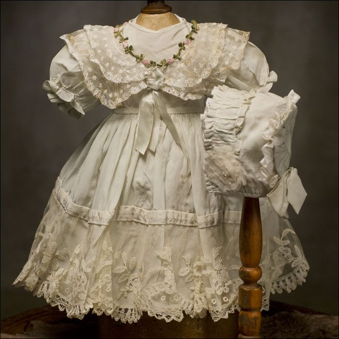 Antique French Original Dress and Hat fit Jumeau Bru Doll