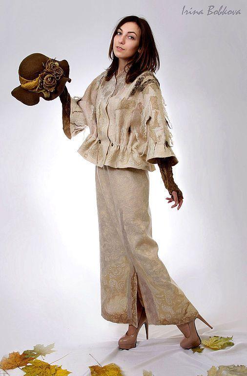 Купить Юбка валяная Зимняя заводь - кремовый, длинная юбка, юбка длинная, юбка бежевая