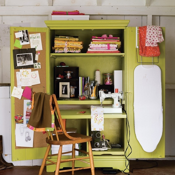 In Your Space: Heather Ross Revamps Your Sewing Workspace! I Love this because I don't use my sewing machine super often but when I do I hate undigging and setting it up!