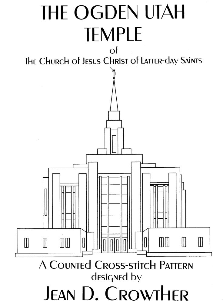 This leaflet contains a counted cross-stitch pattern and detailed instructions of the temple located in Ogden, Utah, the new design dedicated in 2014. The design size is 115 x 100 squares.