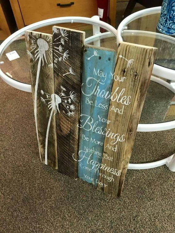 Very Rustic pallet art dandelion may your by Hidesertcreations