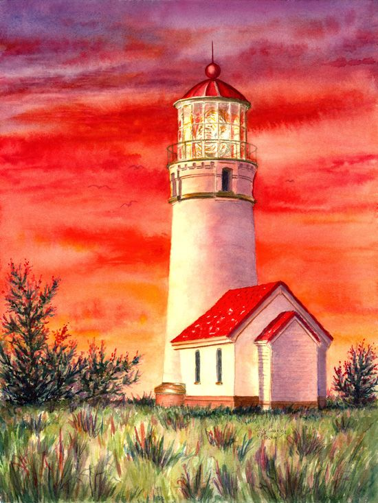 Watercolor Paintings of Lighthouses | cape blanco ...