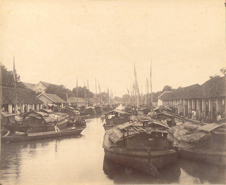 De haven Kali Besar in Batavia 1880-1900.