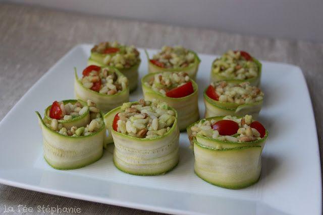 Makis de courgettes: une pr�sentation originale pour un ap�ritif vegan frais, sain et color�!