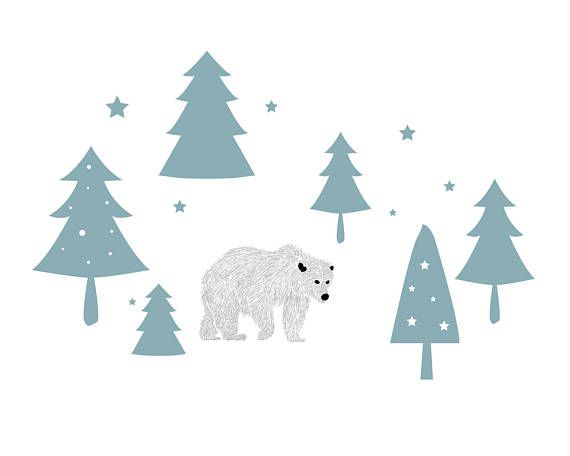 Wall decals polar bear in the forest -A fluffy polar bear in the winter forest -Winter wall decorations for childrens rooms -High-quality self-adhesive foil Where is the natural habitat of a polar bear? Thats right, in the nursery! Here, he feels very comfortable, because he someone to the play. The cuddly wall motif invites to play and dream and can also snap stick on the wall. Also the later removal of the wall sticker is completely possible. Quality: Self-adhesive colour-intensive film...