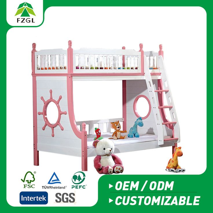 Factory direct wooden furniture double bed solid wood bunk bed for adult/children