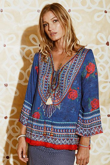 Ruby Yaya | Globetrotter Spring 2017 Printed silk shirt in bold colours. #Bohemian #tribal #prints & patterns #party dress #beachstyle #relaxed