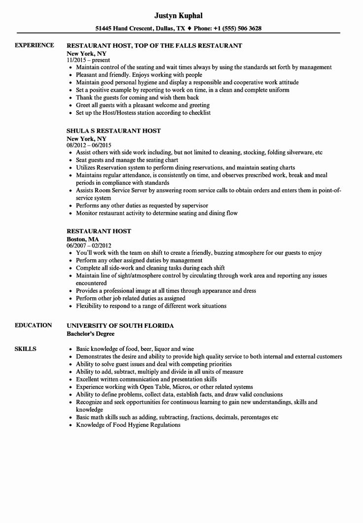 Busser Job Description Resume Luxury Restaurant Host