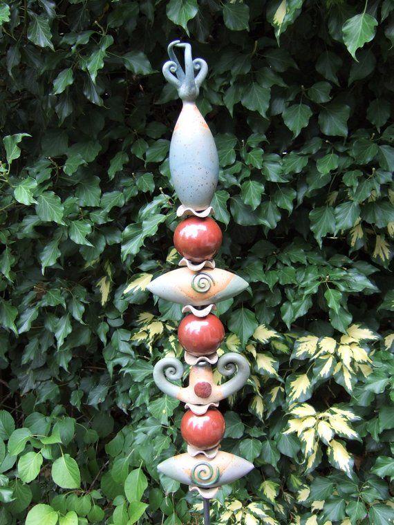 Noble Ceramic Stele Gartenstele Garden Ceramic Snail Pottery