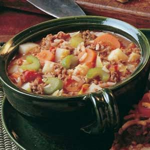 Hamburger Vegetable soup - make with leftover rice and ground beef