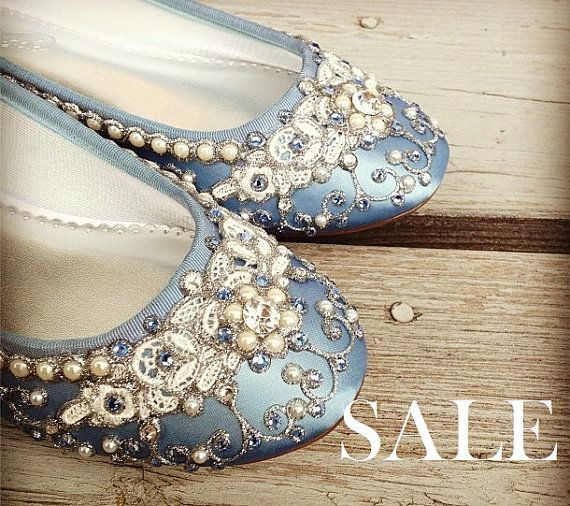 SALE - size 8 Powder Blue Ballet flat