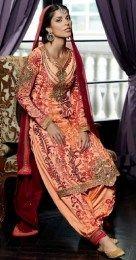 Orange Color Pure Georgette Salwar Kameez In Patiala Style