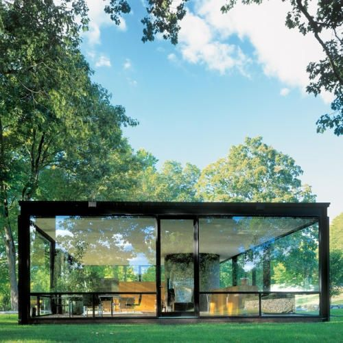 philip Johnson  would need something to close up (cover windows) for the winter if need be.