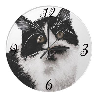 Cat Wall Clock by PetsandVets  http://www.zazzle.com/cat_wall_clock-256549737479634999?rf=238346027810244797
