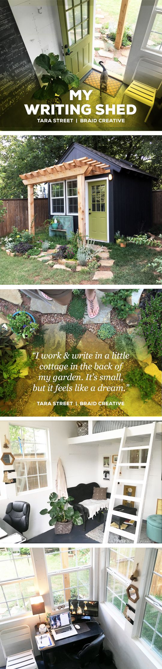 Tara's backyard writing shed | Braid Creative