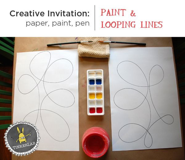 CREATIVE INVITATION with paint and looping lines :: Tinkerlab also could use markers/crayons instead of paints