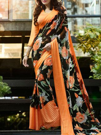 Buy Black Georgette Printed Saree by Shaily - Online shopping for Sarees in India | 13848225
