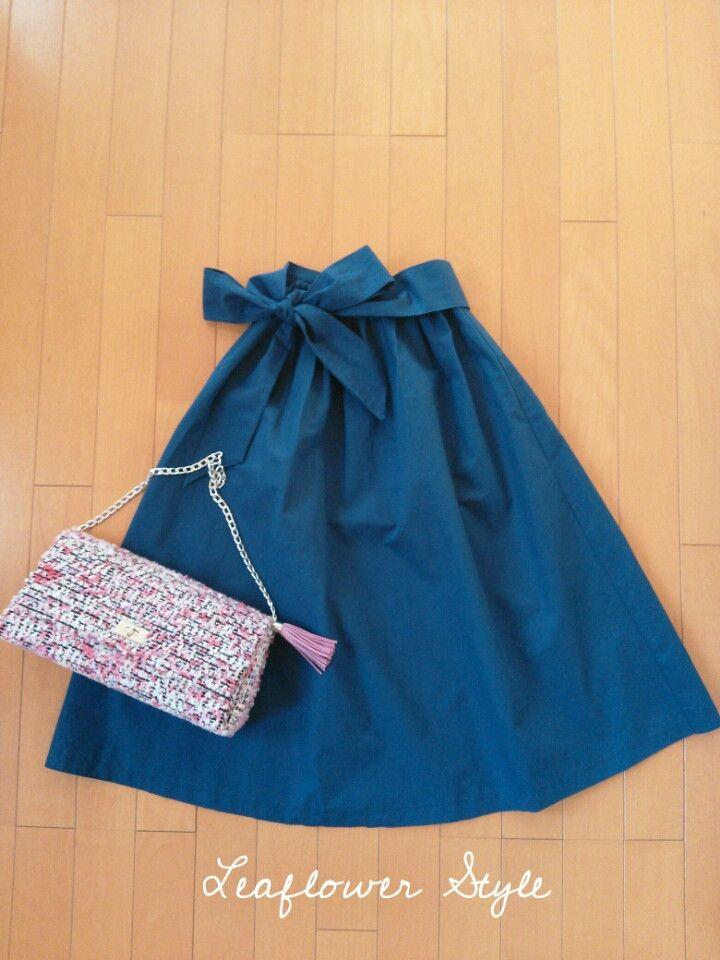 ミモレ丈のリボンスカート☆ハンドメイド  Leaflowerの洋裁 毎日着る上品なワンピースやスカートを作ってます ハンドメイド教室 Leaflower LIVING大阪 ツイードバック