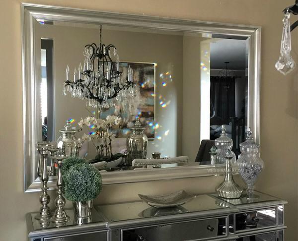 Paris Silver Gold Rectangle Decorative Wall Mirror Elegant Home