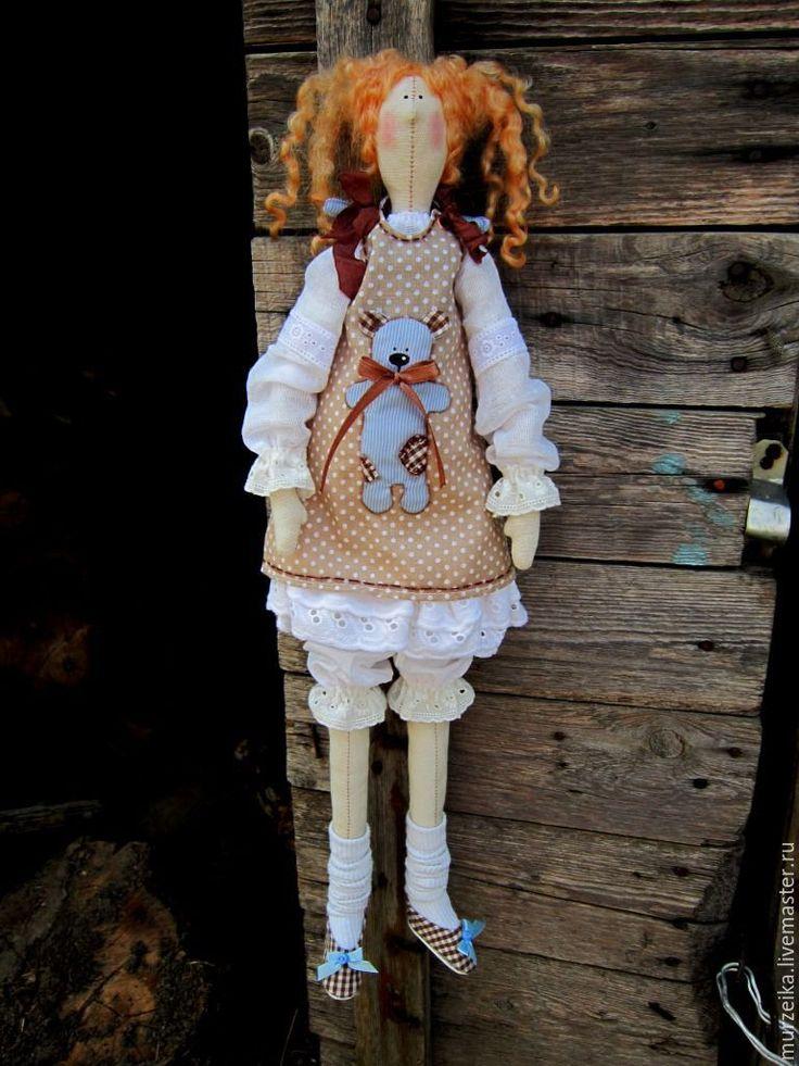 Купить Кукла тильда Мила и Атилла - голубой, кофейный, тильда, тильда кукла, тильда ангел