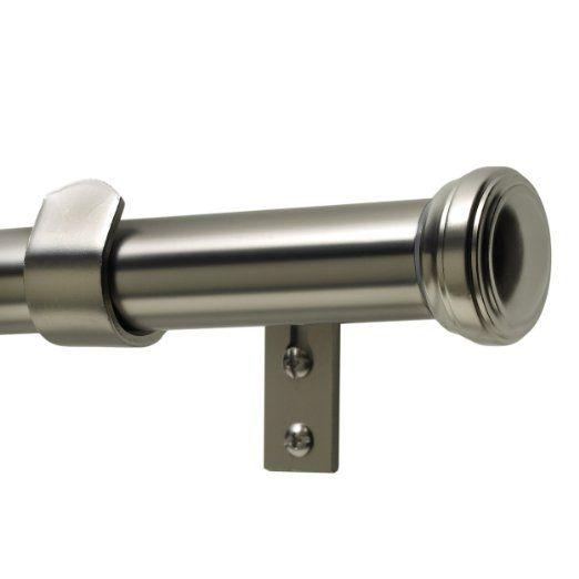 Levolor Fluted End Cap Rod Set, Satin Nickel, 1-Inch Diameter, 36 to 66-Inch Width