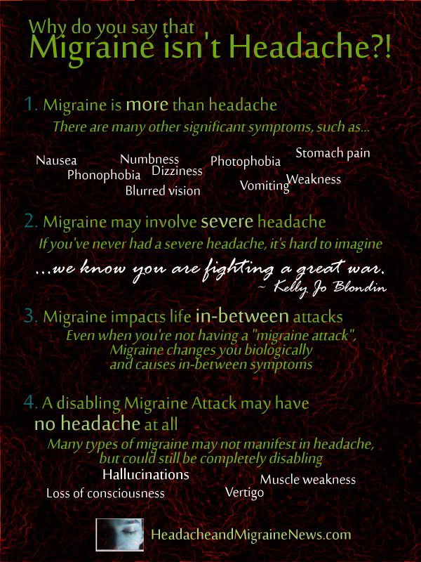 Why do you say that Migraine isn't a Headache, you ask?  Because it is a combination of symptoms, is neurological versus muscular, and has several phases Seizonsha, Founder of Migraineur Misfits