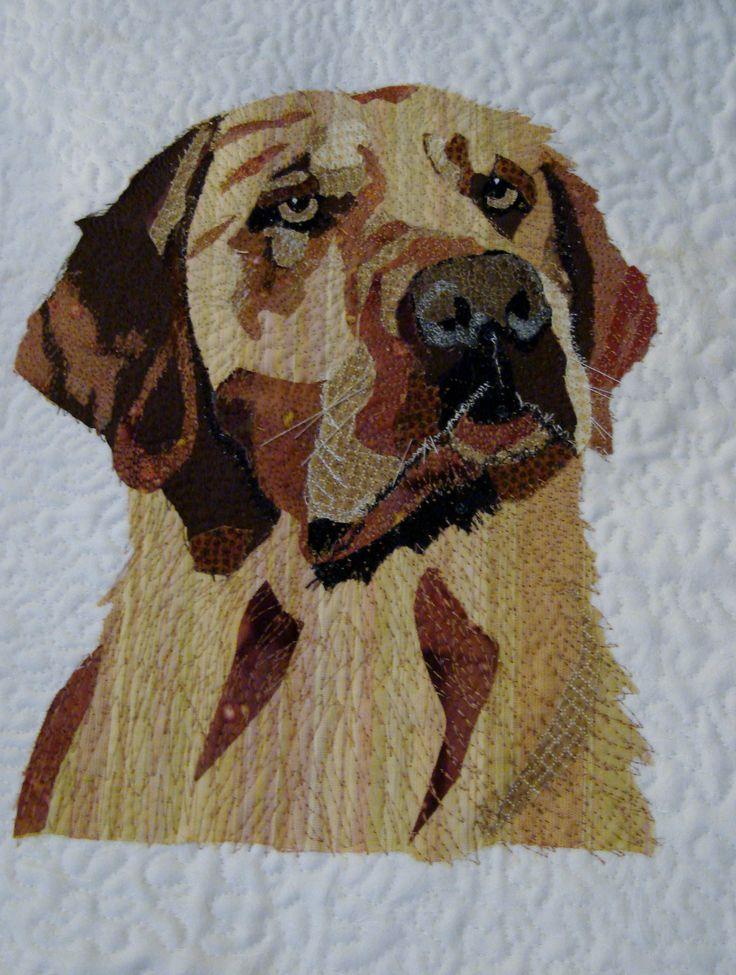 Labrador....Pet portrait art quilt by Helen Dickson. https://www.pinterest.com/smudgersworld/my-stuff/
