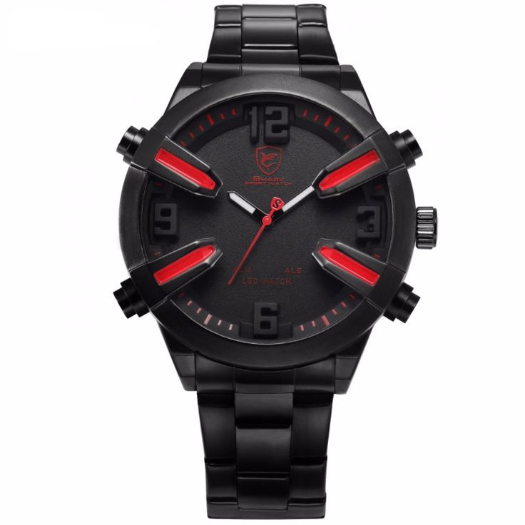Dogfish Shark Sport Watch with Red Accent