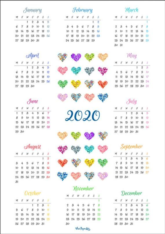 Pdf Printable Calendar 2020 One Page Colorful Hearts