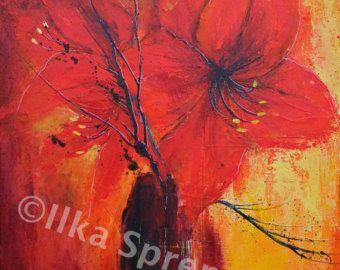 Oil Painting of Amaryllis от debrha на Etsy