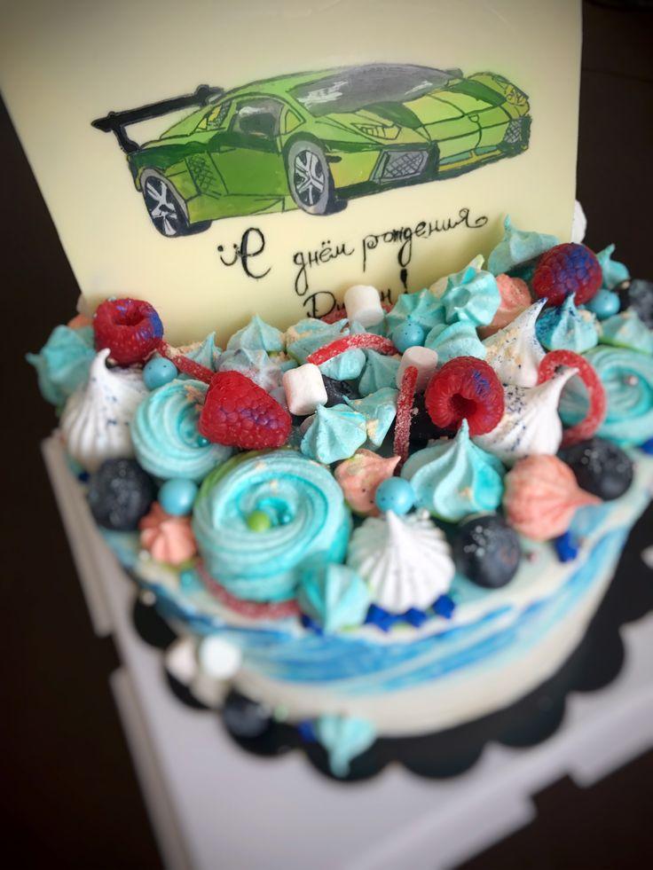 Шоколадная открытка и акварельный тортик для мальчика