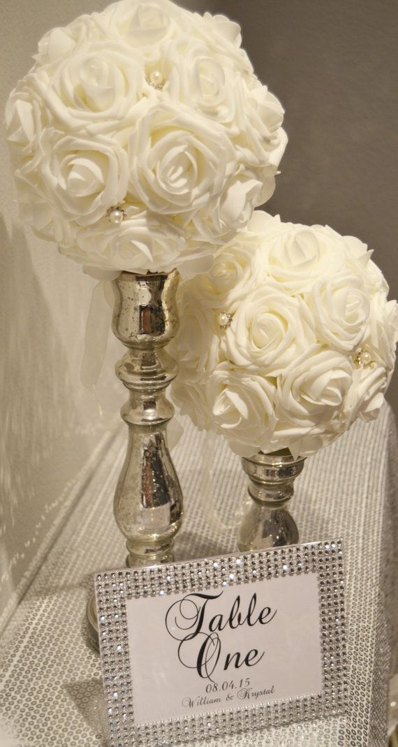 "Real Touch Foam Rose Ivory Flower Ball with Bling Pearl Brooch WEDDING CENTERPIECE wedding pomander kissing ball 6"" 8"" 10"" 12"" 14"" 16"""
