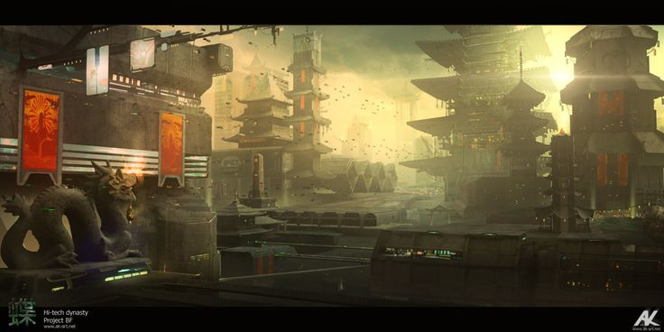 General overview of futuristic Shanghai, where the story takes place. The idea is to mix the old, stone architecture and traditional elements, like gates or monuments, with vast scale and futuristic additions.