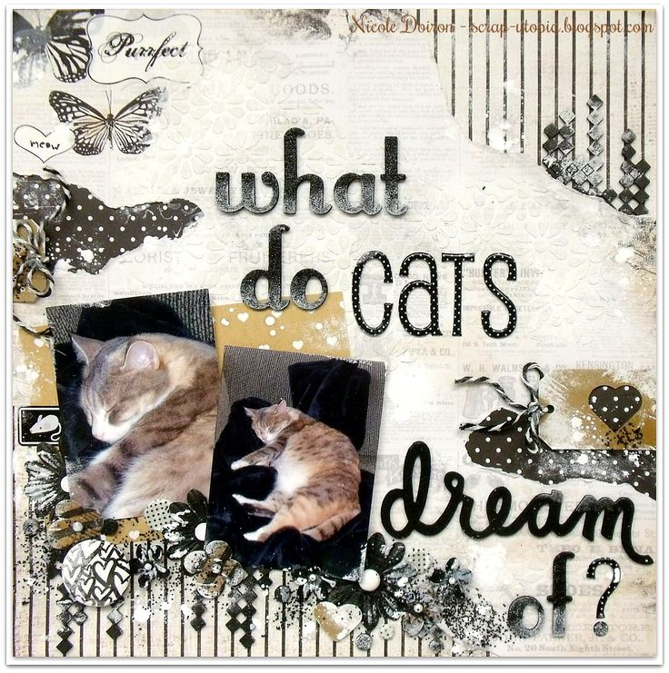 My DT reveal project for the More Than Words April Main Challenge offering DREAM as the word inspiration and BLACK/WHITE +1 for the creative challenge. Find out more at http://scrap-utopia.blogspot.ca/2017/04/what-do-cats-dream-of-more-than-words.html #scraputopia #scrapbooking #morethanwordschallenge #morethanwords #mtw #mtwchallenge #black&whitelayout